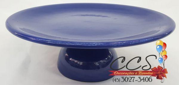 Boleira redonda prato baixo ceramica azul escuro