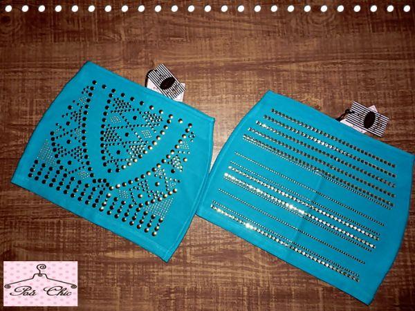 Saia de Bandagem com Tachas - Verde / Meio Azul Turquesa
