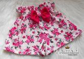 short saia infantil com laço 6 anos, tecido estampado floral