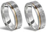 Alianças de prata 950, escovada, com batimentos cardíacos e fio de ouro - Mod: 2419