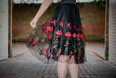 Saia Midi em Tulle Dark Roses