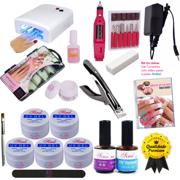 Kit Unhas Gel Uv Acrigel + Mini Lixa Eletrica + Cabine 110v ou 220v