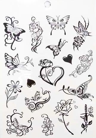 Kit 60 Tatuagens Borboletas Tribais