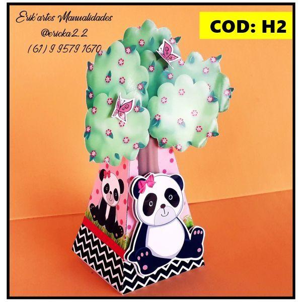 Caixa Piramide Arvore Panda Rosa E Preto Cod H2 Atelie