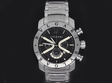f6c9c5289a9 Relógio Bvlgari Iron Man prata com fundo preto - Sophie Multimarcas