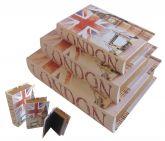 Caixa Livro Decorativo London Big Ben - 3 Peças Madeira