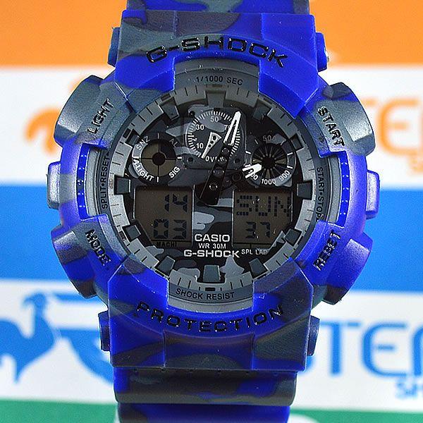 e2f669385db Relógio Casio G-Shock GA-100 Automático Azul Camuflado Masculino à prova D´