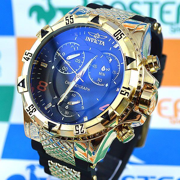 4bf1101615a Relógio Invicta Excursion Funcional Dourado Fundo Preto Pulseira Borracha  Masculino à prova D´água