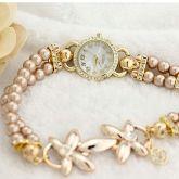 Hot Luxury pérola flor pulseira de relógio de pulso