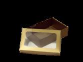 Caixa Dourada Para 6 Doces com Visor 10un
