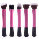 5 pincéis rosa para face