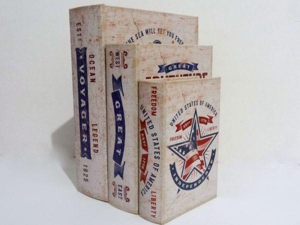 Caixa Livro Decorativo Great Voyager - 3 Peças MDF