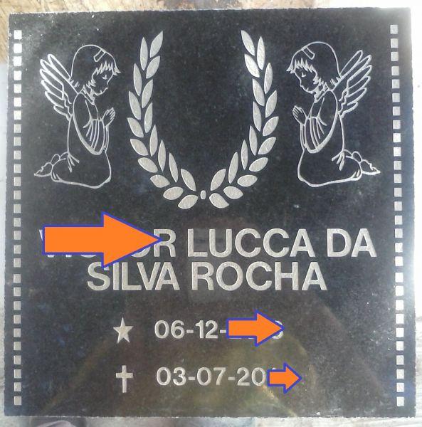 Placa em Granito baixo relevo Anjinhos com foto 6x8