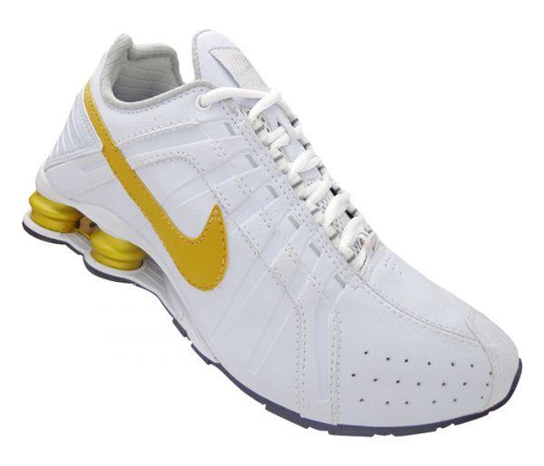 a165c928323 Tênis Nike Shox Junior Branco e Dourado - ESTILO IMPORTADO-DERSON ...