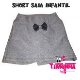 short saia infantil cinza mescla 2-4-6, suplex gramatura 320