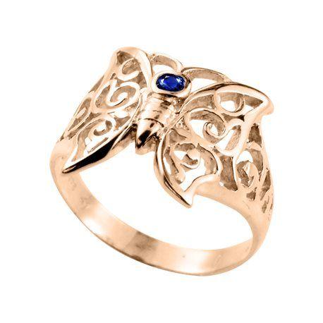 Anel Borboleta Zircônia Azul - Ouro 10K
