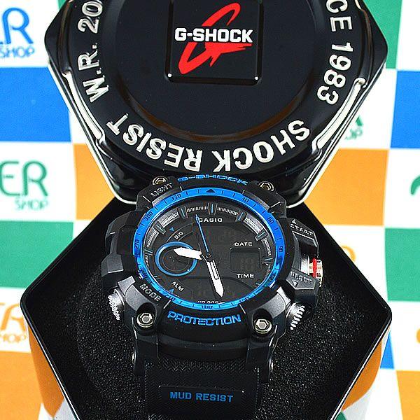 c924e40b99a Relógio Casio G-Shock Mudmaster Preto Detalhes Azul Masculino à prova  d´água +