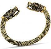 Bracelete Viking Dourado Pulseira Serpente Dragão Lobo Mitologia Nórdica + Pingente Chave - 7cm
