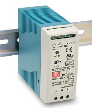 DRC-60B Fonte Chaveada Industrial 24V x 2,15A c/ Carregador de Bateria Mean Well