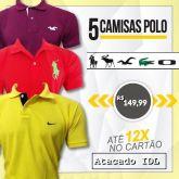 e90f41ef5e kit 5 Camisetas Gola Polo Varias Marcas Atacado Revenda