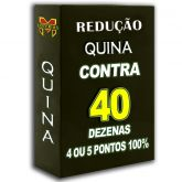 Redução de grupos QUINA SUPER 40, busque 3, 4 ou 5 pontos 100%, contra 40 dezenas em 6 apostas.