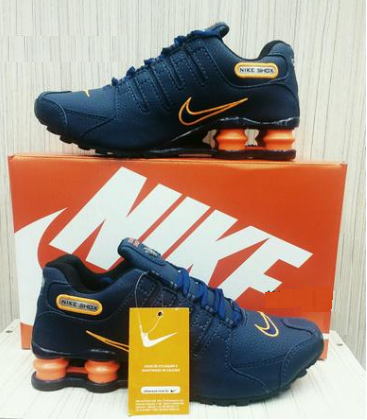 79a42be6e90 Tênis Nike Shox Junior NZ Azul c  Laranja - Outlet Ser Chic
