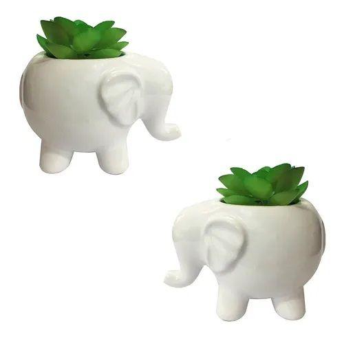 2 Vaso Cachepot Com Planta Porcelana Decorativo Elefante