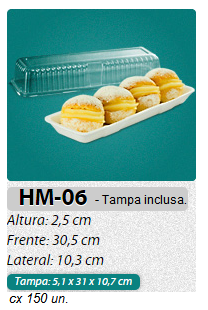 HM-06 BANDEJA ISOPOR RET. C/ TAMPA C/ 150 UN.
