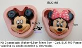 Kit com rosto Mickey & Minnie 6,5cm e 7cm