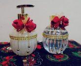 Kit Lavabo Luxo Vidro Oval Aromatizador Difusor Varetas + Sabonete Liquido