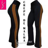 legging flare plus size(48/50) preta com listra lateral caramelo,tecido crepe de malha