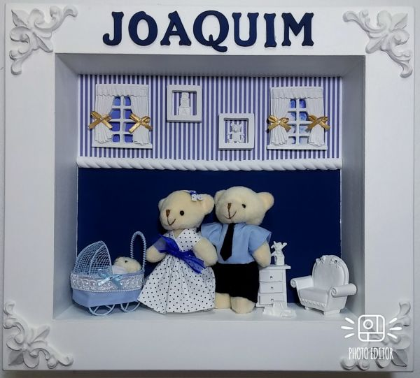 2b6e9e60706a6 Quadro Enfeite Porta Maternidade Bebê Menino Ursos azul - JAC SHOP ...