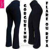 calça flare ou reta azul (P-M-G), tecido gorgurinho, gramatura média/alta
