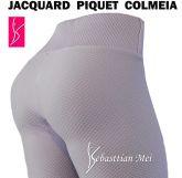 legging branca(P-M-G)cintura alta, jacquard piquet colmeia