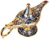 Lâmpada de Aladim - Metal Dourado e Azul - Gênio Aladdin + Chave Pingente - 21cm