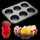 Forma Antiaderente com Silicone para 6 cupcakes 1un