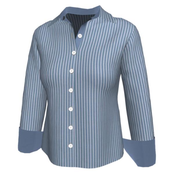 Camisa Longa Detalhes - Listra Azul