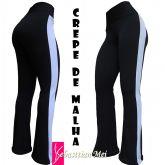 legging flare plus size(60/62) preta com listra lateral branca,tecido crepe de malha