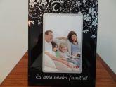 Porta Retrato Vidro Amo Minha Familia 10 Cm X 15 Cm