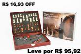 Kit Acessórios para Vinho 6 Peças Inox Caixa com Jogo Xadrez