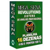 Planilha MEGA-SENA com 16 dezenas em 80 apostas 4, 5 ou 6 pontos 100%