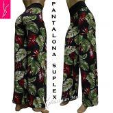 Pantalona plus estampada(48/50-52/54),preta e floral,cintura em preto, tecido suplex gramatura 320