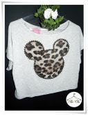 Cropped Mickey / Animal Print (Oncinha) – Bordado – Cinza