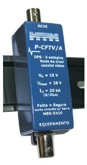 P-CFTV-A Protetor de Surto p/ Cabo Coaxial - CFTV - Axial 20 kA