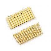 10  Pares de Conectores Bullet Gold 2mm (10 Fêmea & 10 Macho )