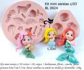Apliques mini sereias c/03 rostos / 03 corpos