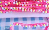 Fita pompom mini colorida - pink/amarelo/azul