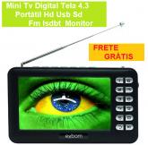 Mini Tv Digital Tela 4.3 Portátil Hd Usb Sd Fm Isdbt Monitor + FRETE GRÁTIS