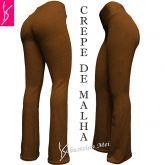 calça feminina caramelo(GG-46)), flare ou corte reto, tecido crepe de malha