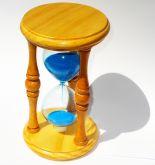 Ampulheta Grande De Madeira Clara Relógio Tempo Vintage Retrô  Areia Azul